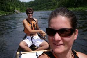 Geneviève Labonté & Jesse Allain sur la rivière Matapédia