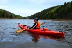 Genevieve en kayak