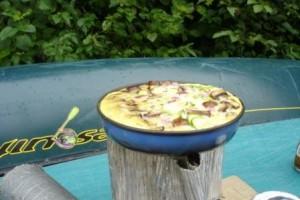 Omelette sur canot